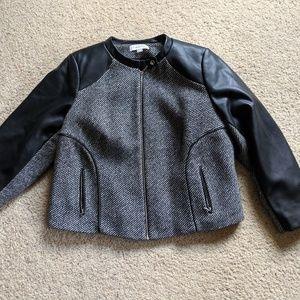CALVIN KLEIN zip up leather & wool coat jacket